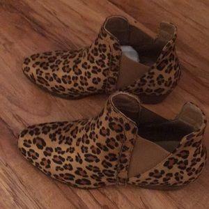 """Shoes - Faux suede cheetah 1/2"""" heel booties."""